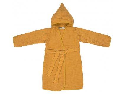 Lässig 4babies koupací plášť Muslin Bathrobe mustard 24-36m.