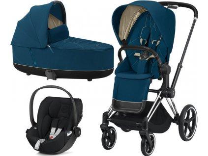 Kočárek CYBEX Set Priam Chrome Black Seat Pack 2021 včetně Cloud Z i Size, mountain blue 1