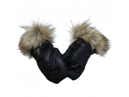 Rukavice zimní Puer Inverno Black /Hnědá kožešina