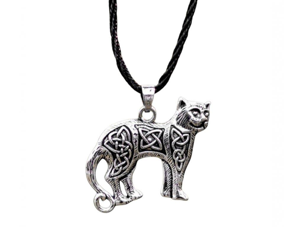 náhrdelník přívěsek kočka s kočkou kočičí keltská kelt 2