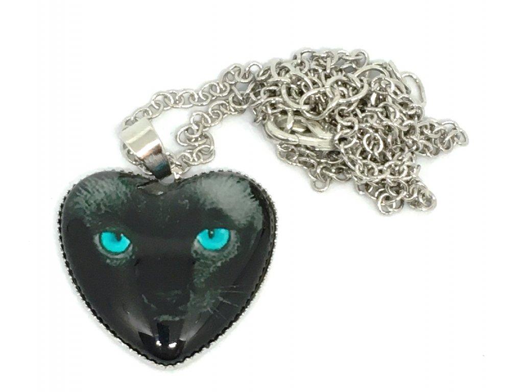 Srdce kočka na řetízku V
