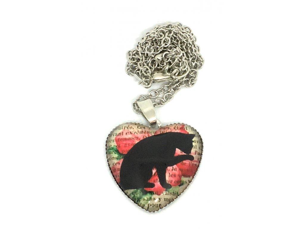 Srdce kočka na řetízku VII