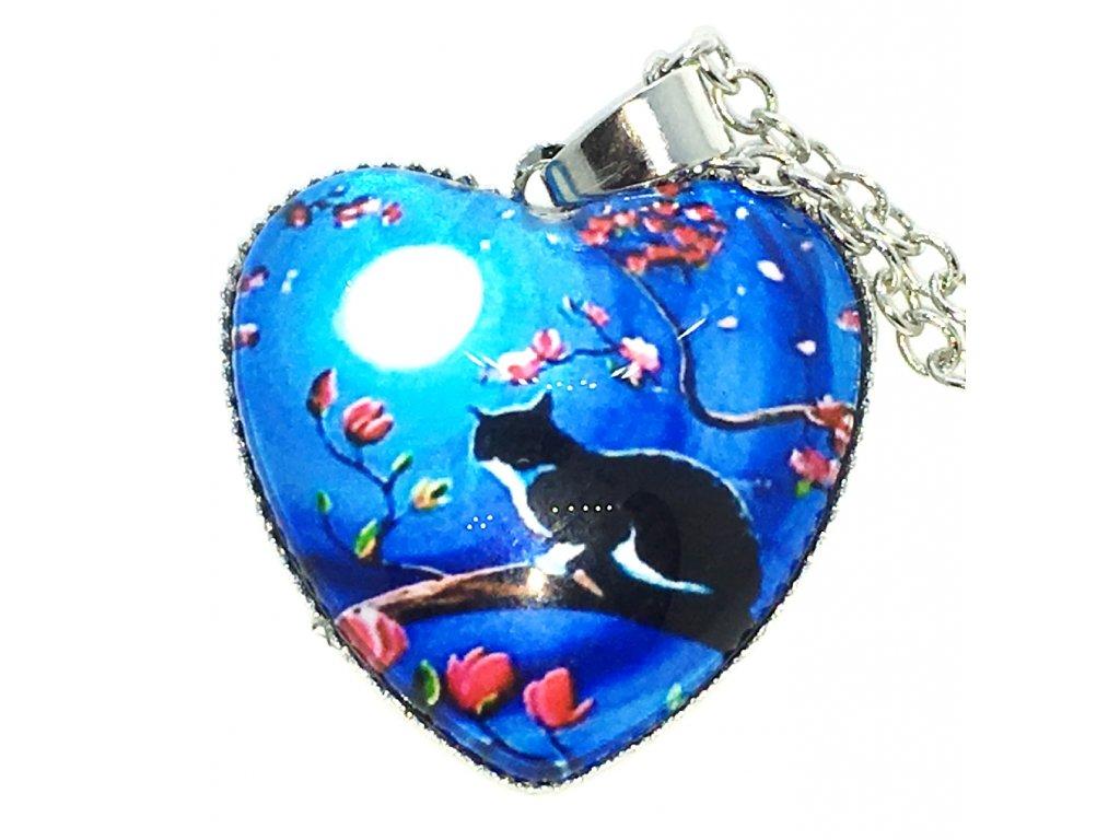 Srdce kočka na řetízku IX