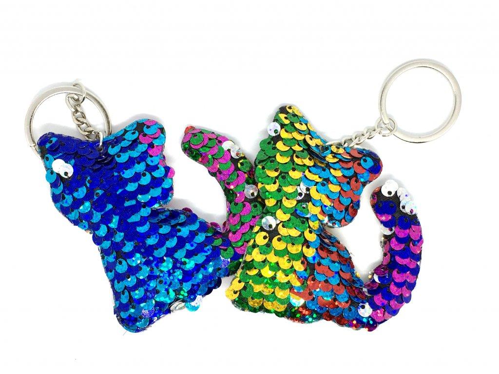 Klíčenka flitrová barevná kočka