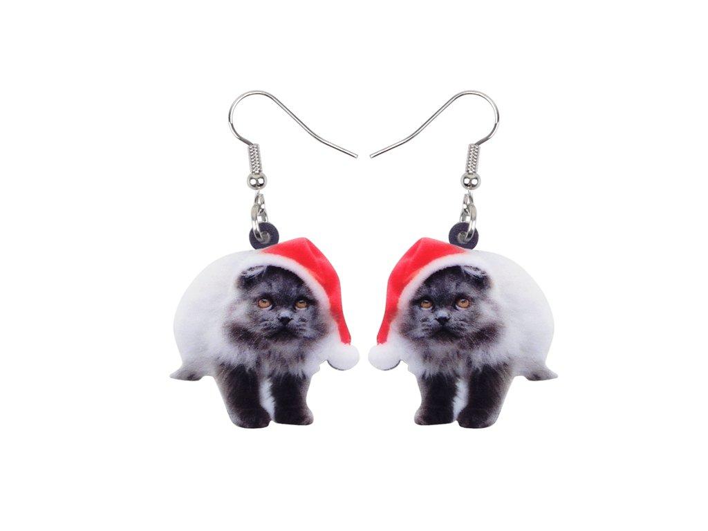 Vánoční náušnice Santa kočka