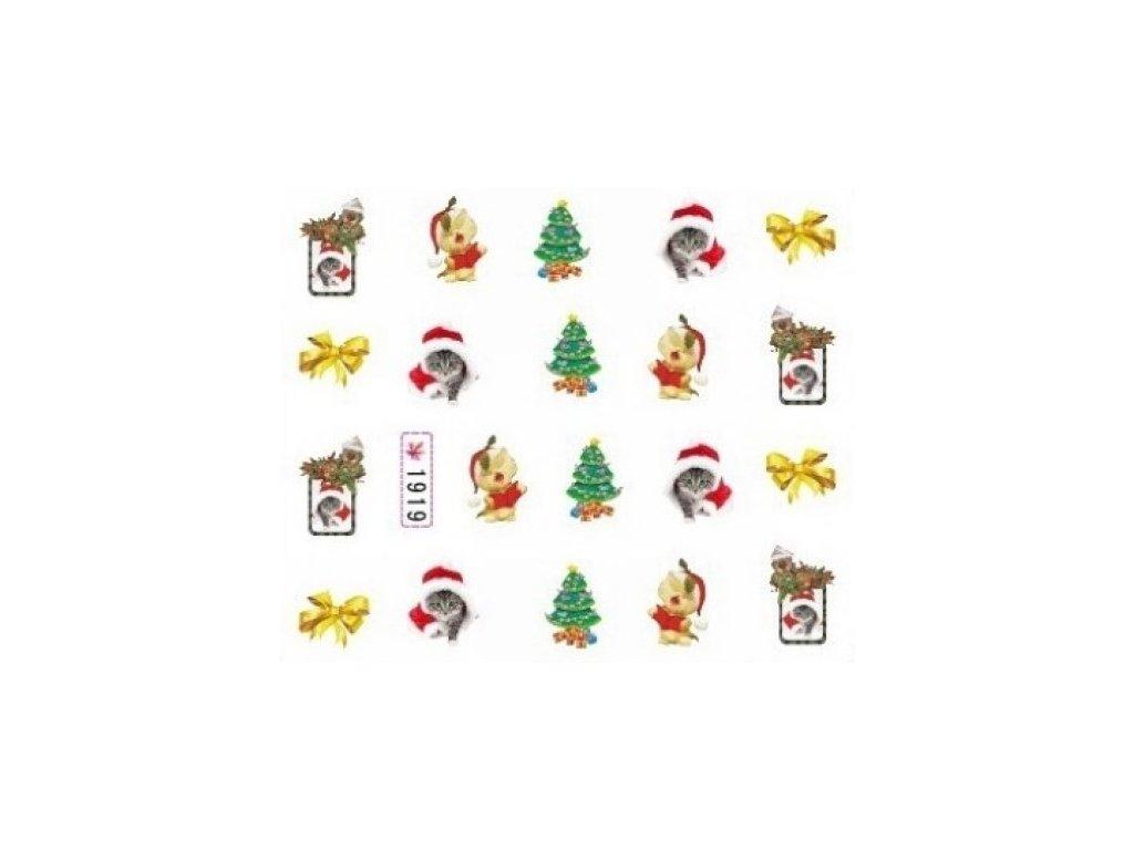 Samolepky na nehty vánoční kočka
