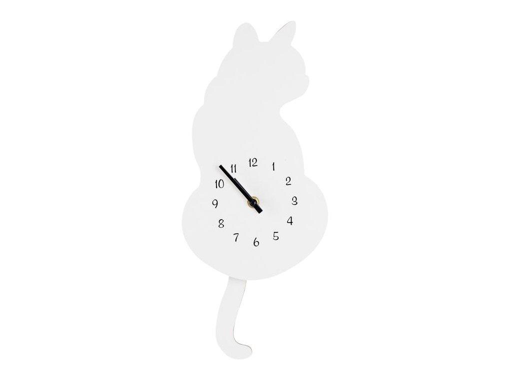hodiny kyvadlové bílé kočka kočičí
