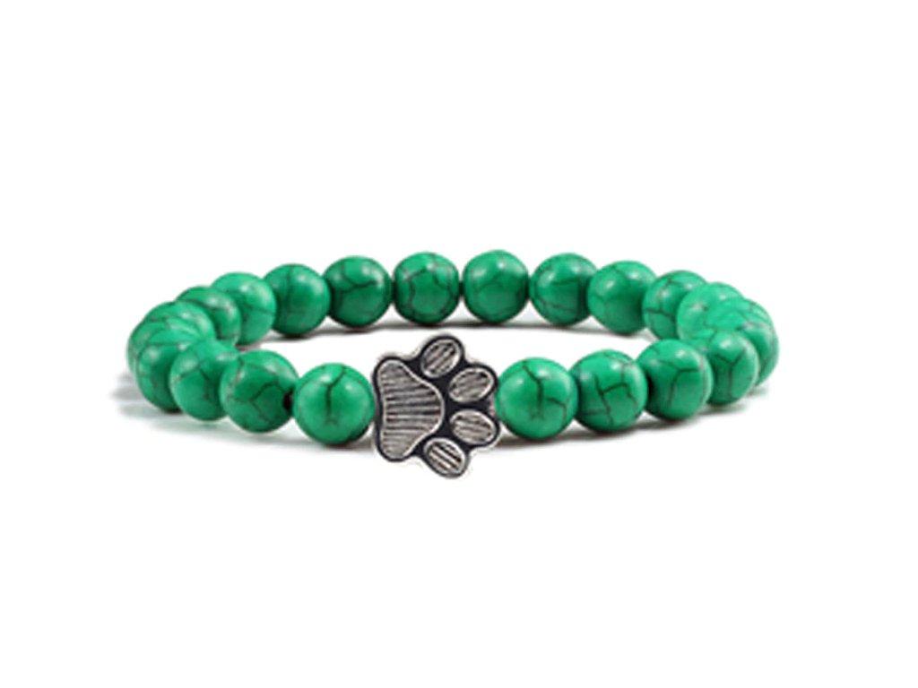 Náramek kočičí tlapka - zelený tyrkys