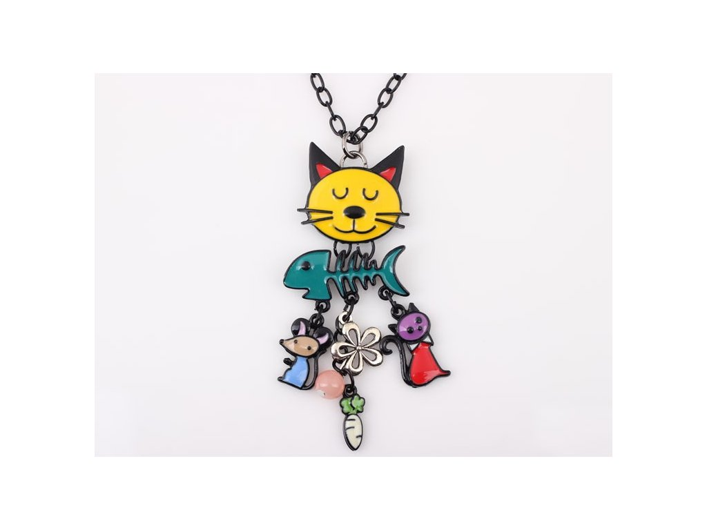 kocour kočka náhrdelník přívěsek