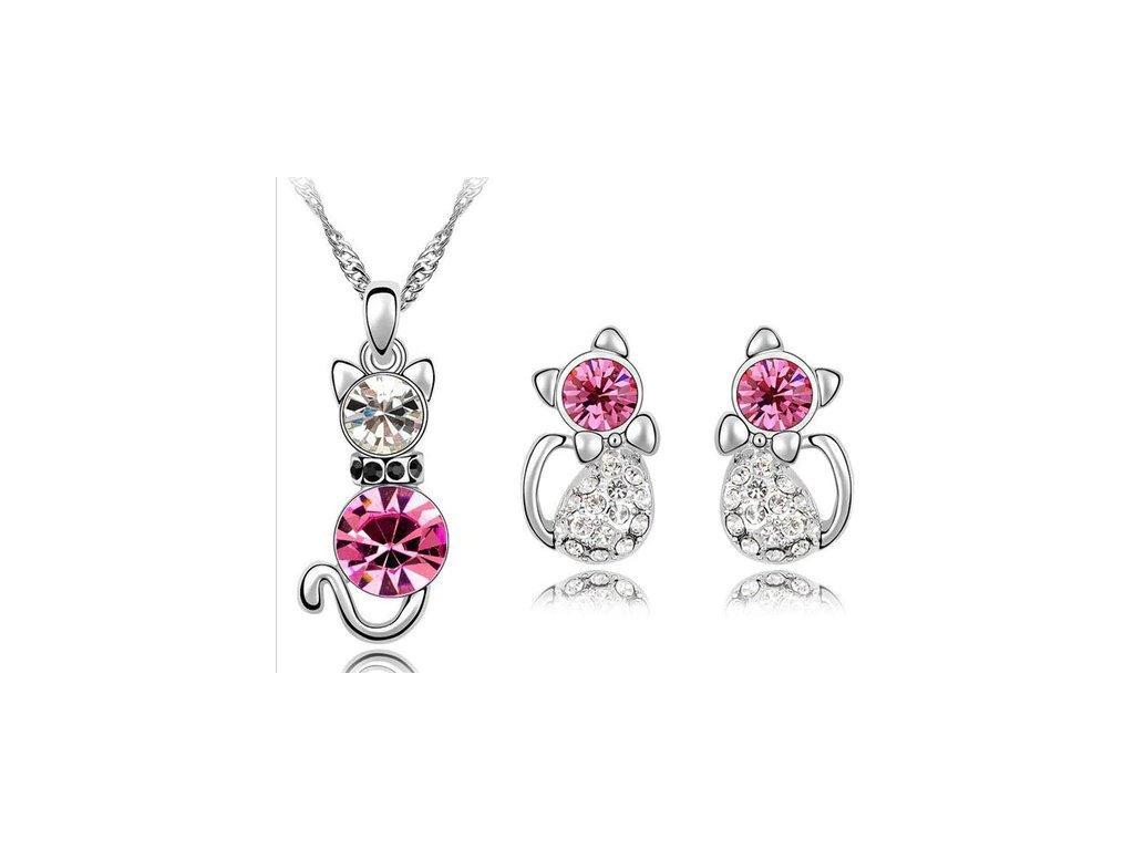 set kočka kočičí náhrdelník náušnice růžový