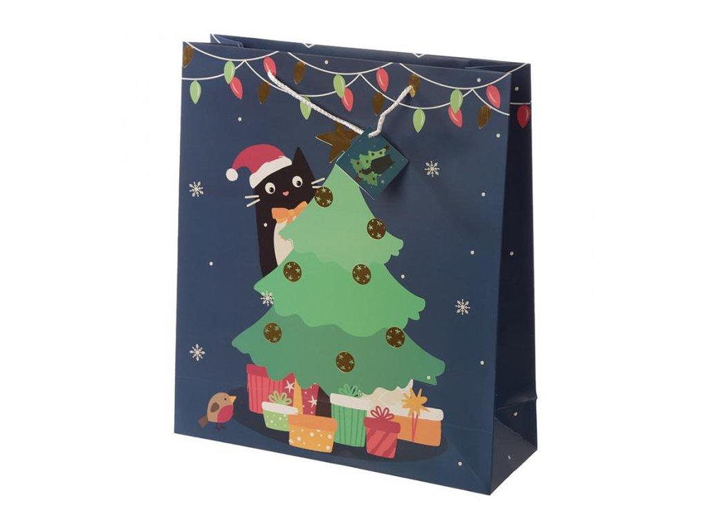 Vánoční dárková taška kočka - velikost XL