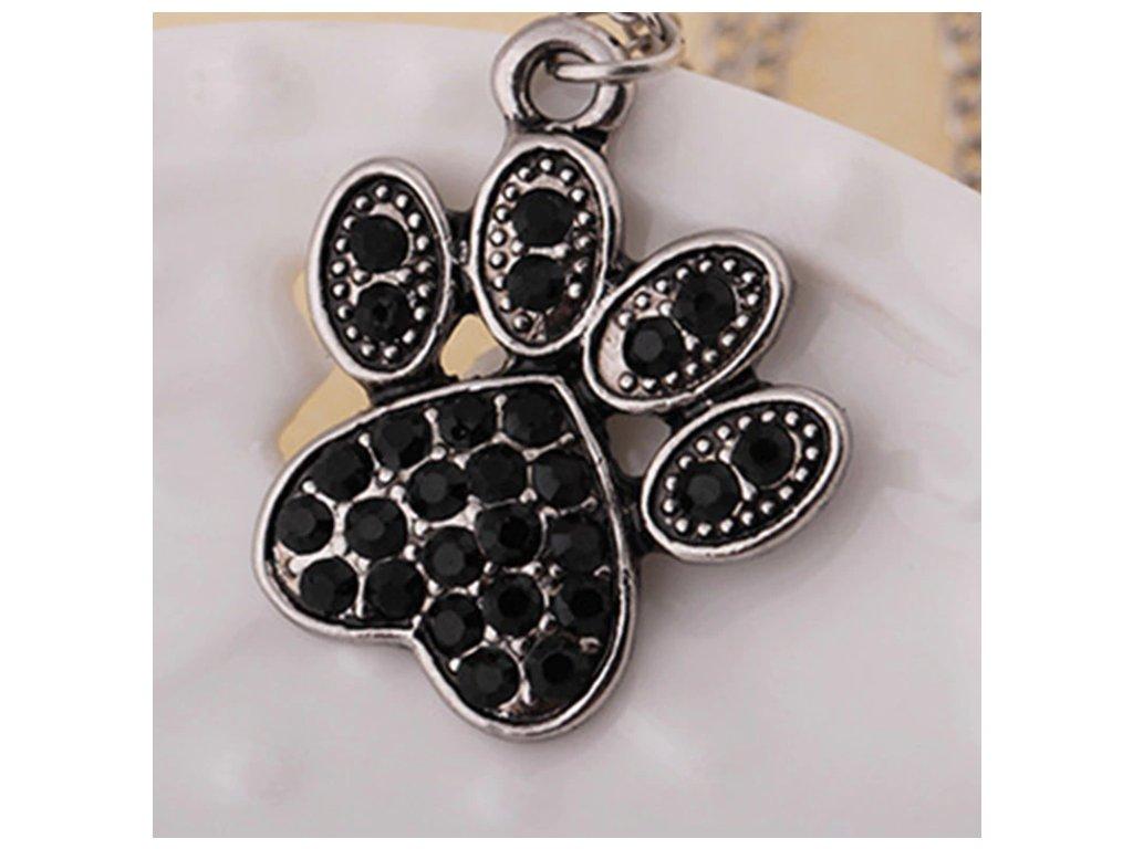 náhrdelník přívěsek kočičí tlapka černý