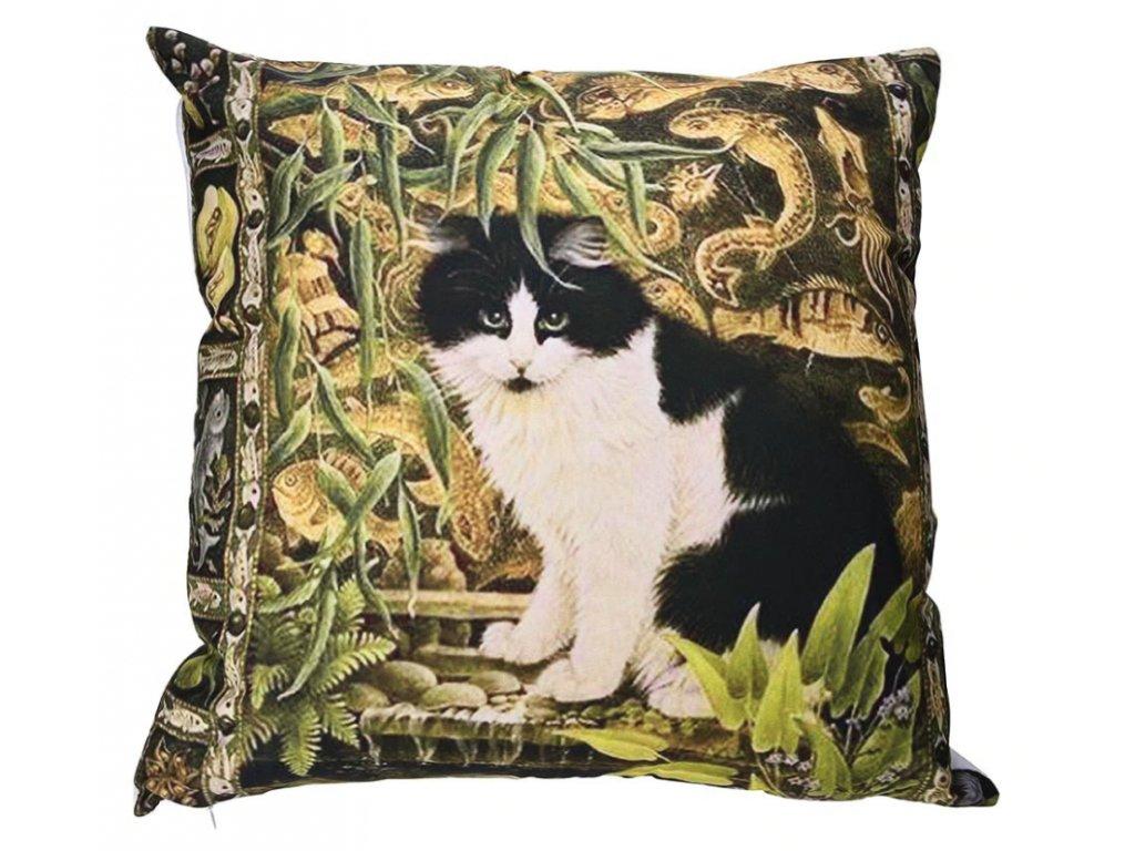 polštář kočka džungle povlak