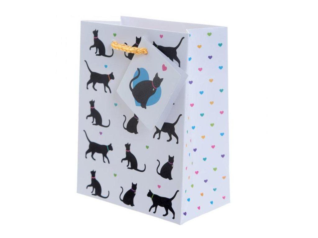 Dárková taška černá kočka - velikost S