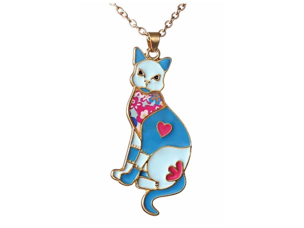 Náhrdelník kočka z emailové mozaiky