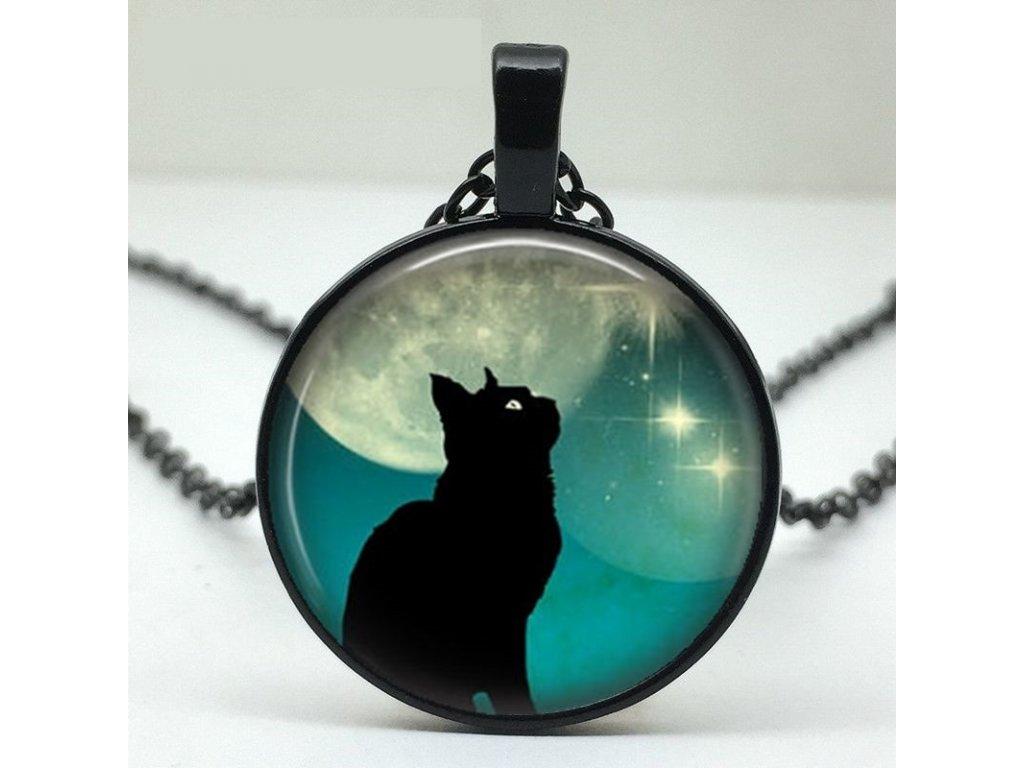 náhrdelník přívěsek kočka a měsíc