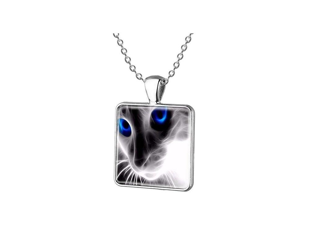 náhrdelník přívěsek černá kočka s modrýma očima