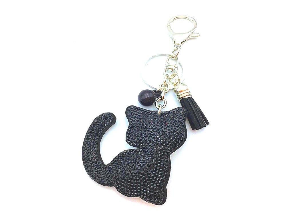 strasová kočka klíčenka černá
