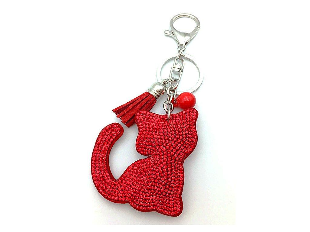strasová kočka klíčenka červená