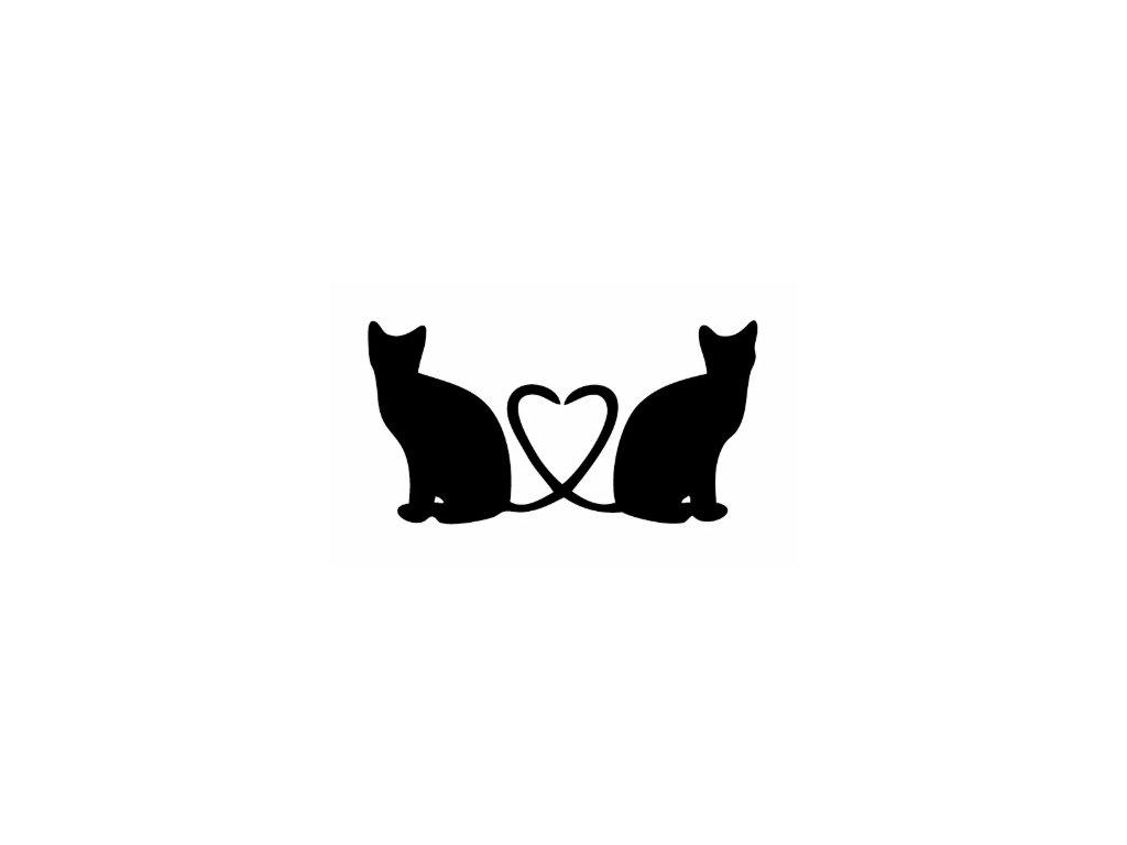 samolepka na auto kočka srdce 2