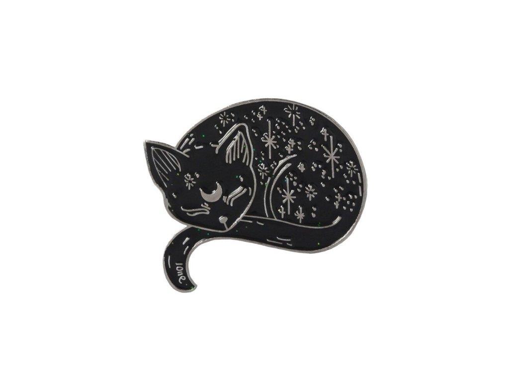 brož špendlík spící černá kočka