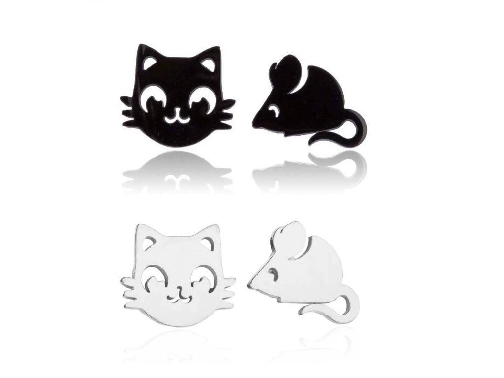 náušnice kočka myš ocelové černé stříbrné