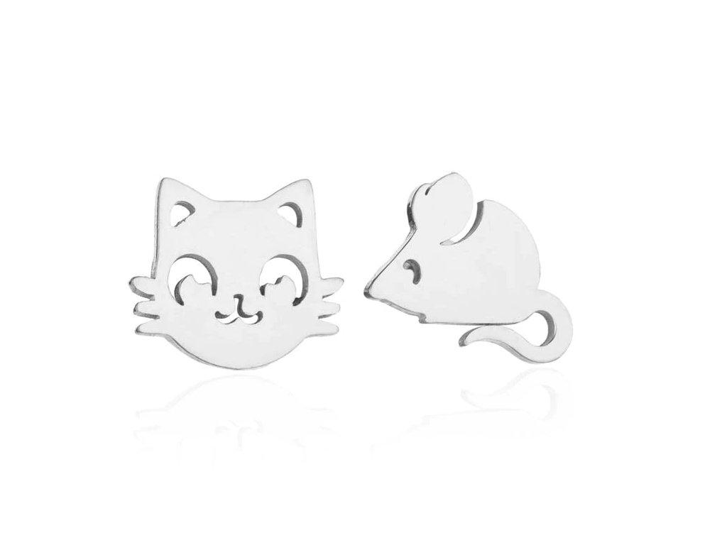 náušnice ocelové kočka myš kočičí 2