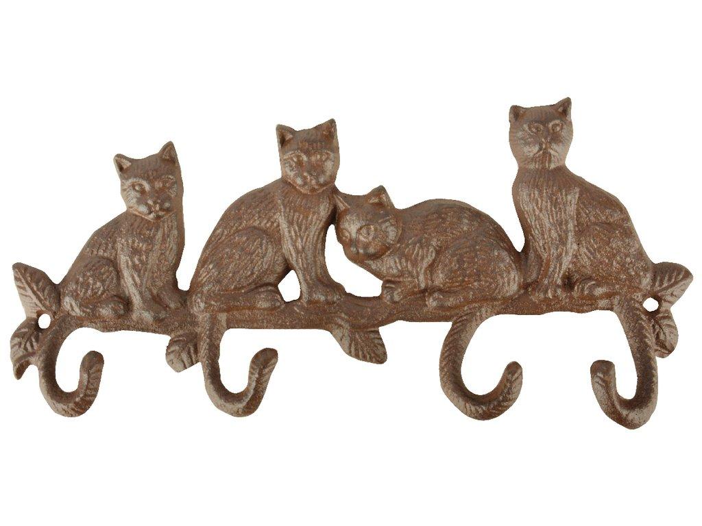 4 háčky kočka litina ocásek