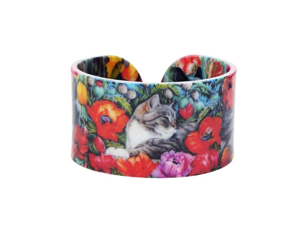 náramek kočka s kočkou malovaný vlčí mák 2