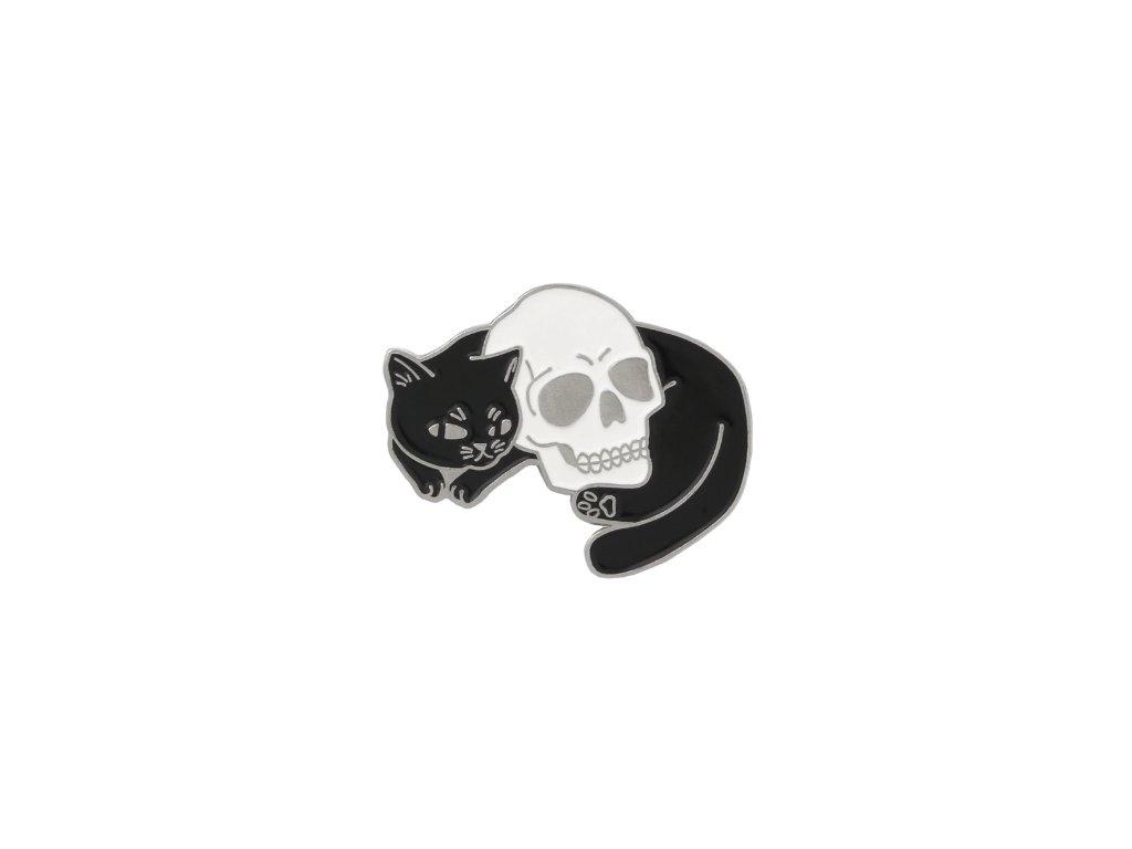 brož kočka lebka