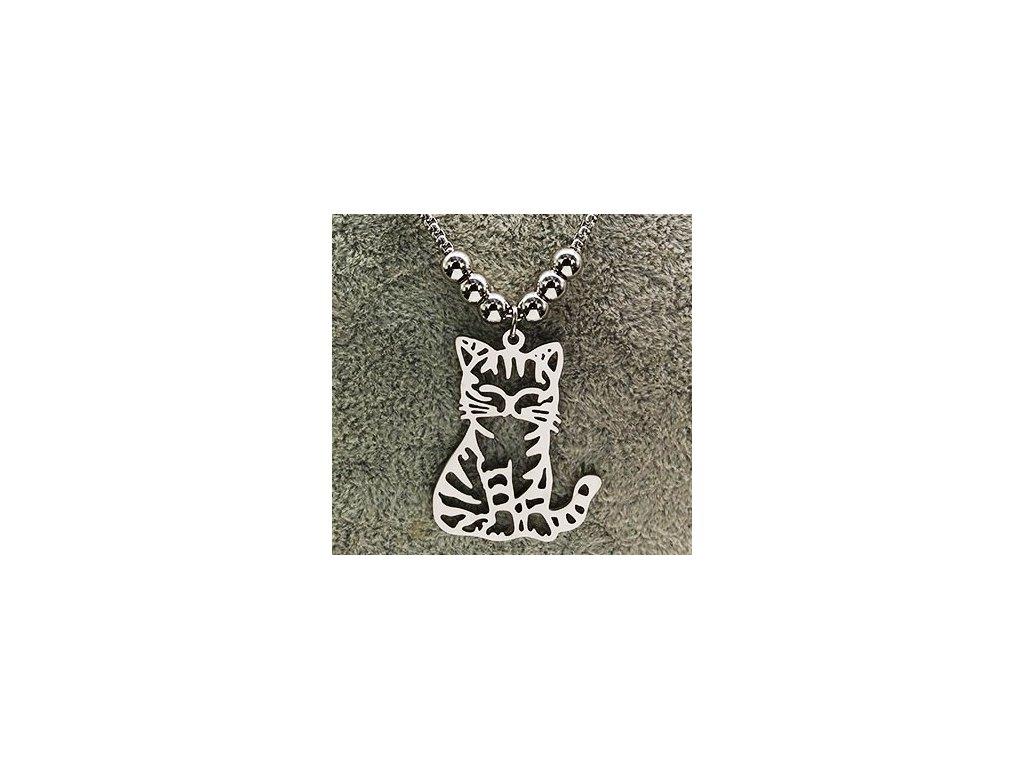 masivní kočka na řetízku náhrdelník