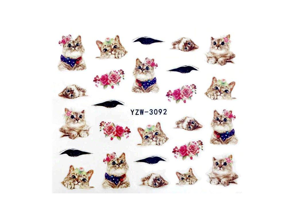 samolepky na nehky kočka kočičí s růžemi 2