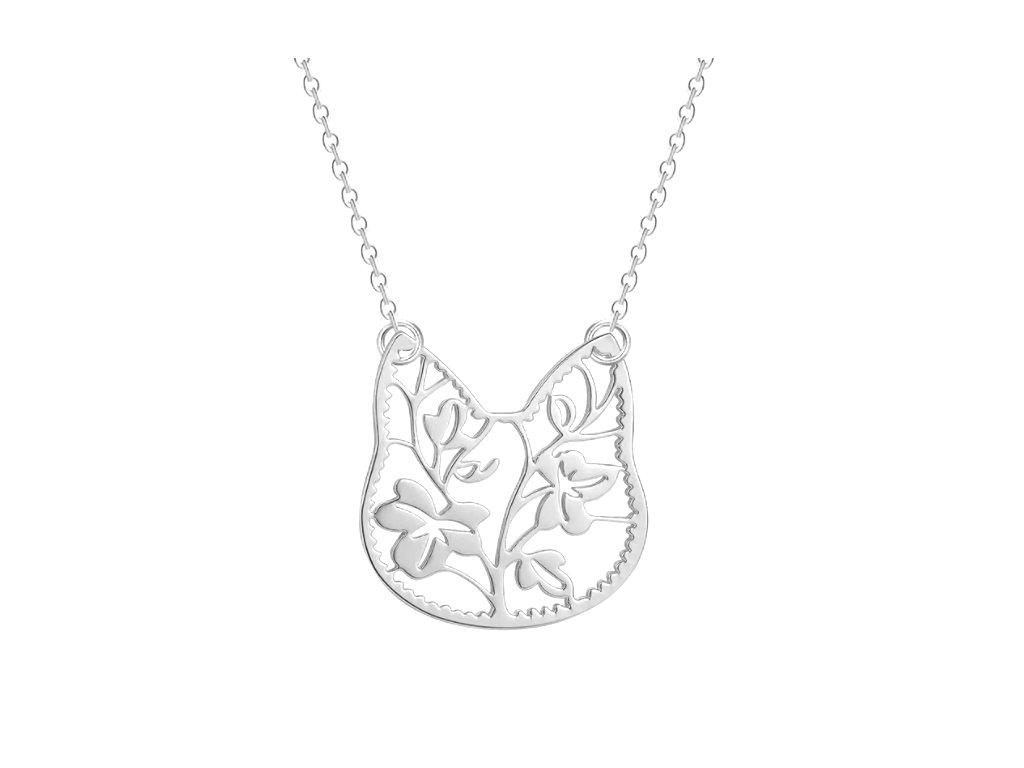 náhrdelník přívěsek kočka květiny 2