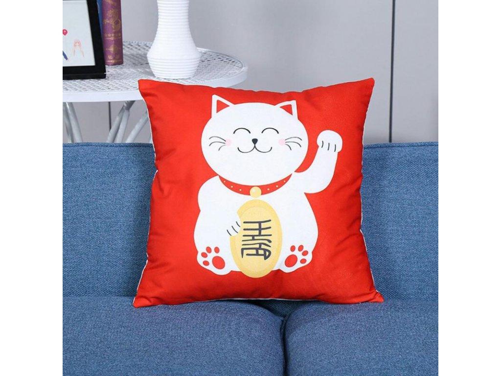polštář kočka maneki neko pro štěstí