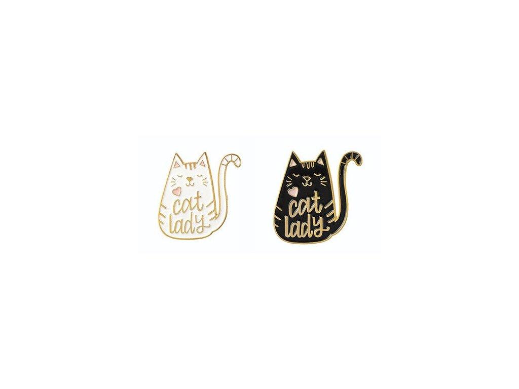 brož email kočka cat lady černá bílá 2