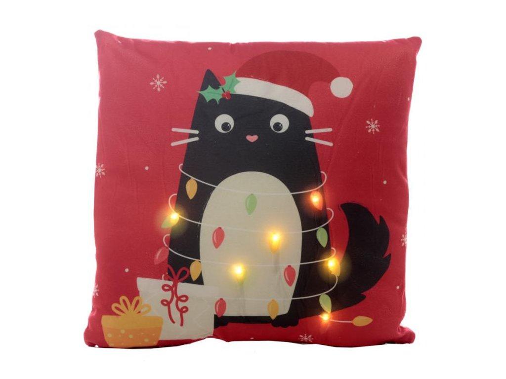 polštář kočka vánoce led diody