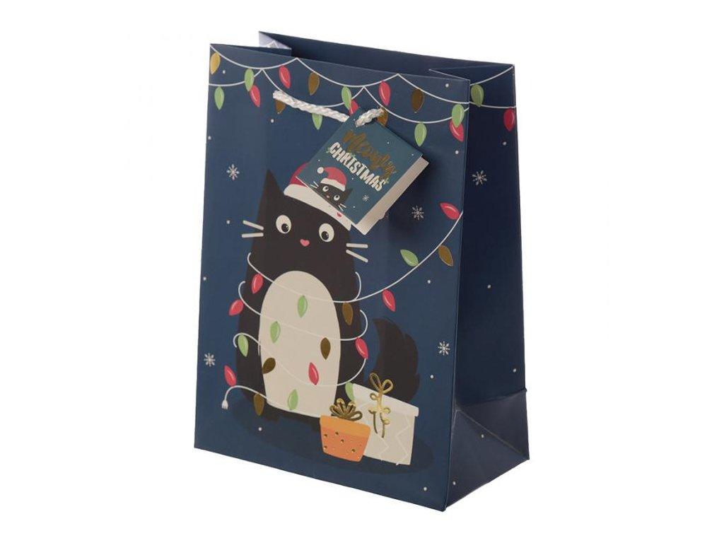 vánoční dárková taška kočka s kočkou