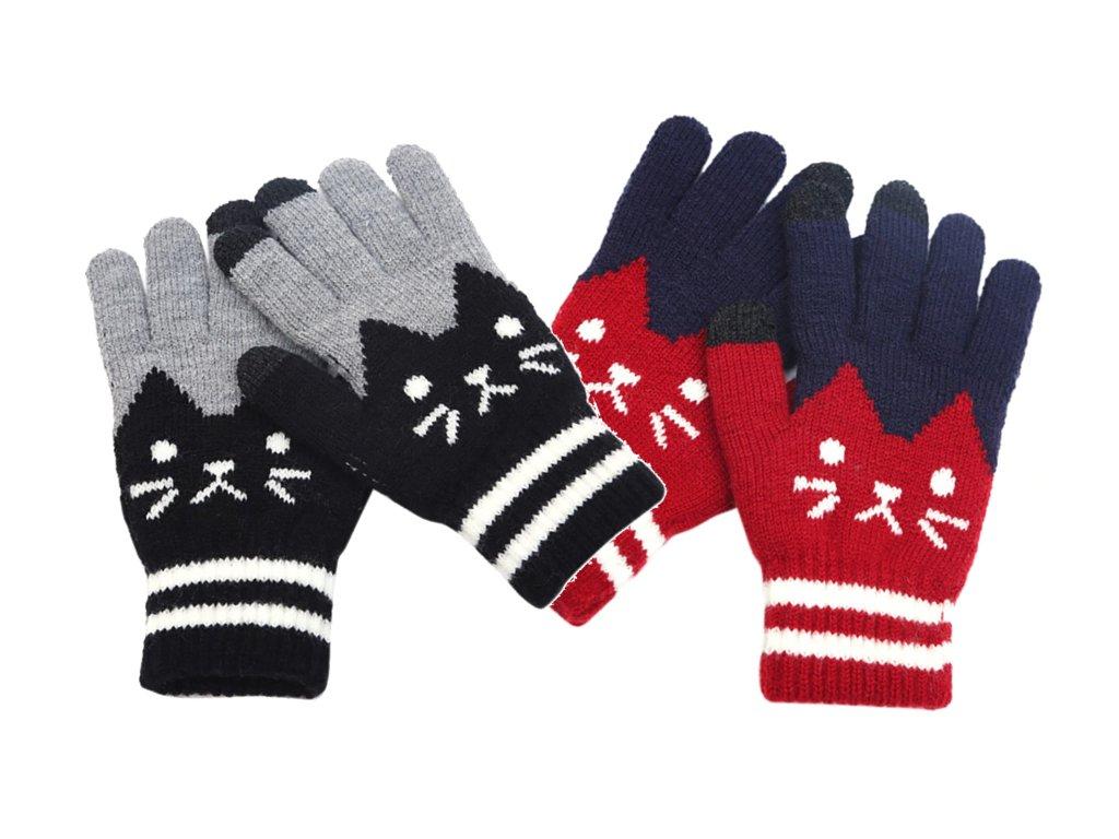 rukavice kočka kočičí prstové s kočkou červené modré šedé černé