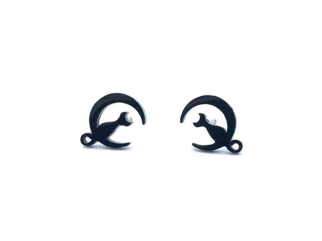 náušnice kočka měsíc ocelové černé 4