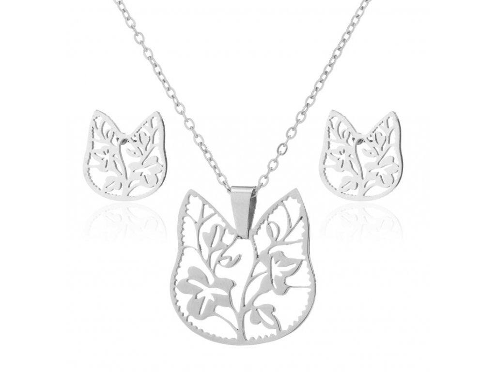 set náušnice náhrdelník kočka květiny kočičí s kočkou motiv