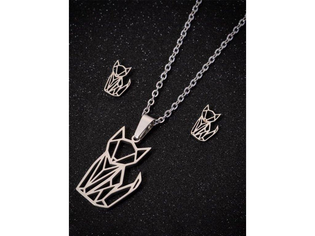 náhrdelník kočka náušnice set sada kočičí s kočkou