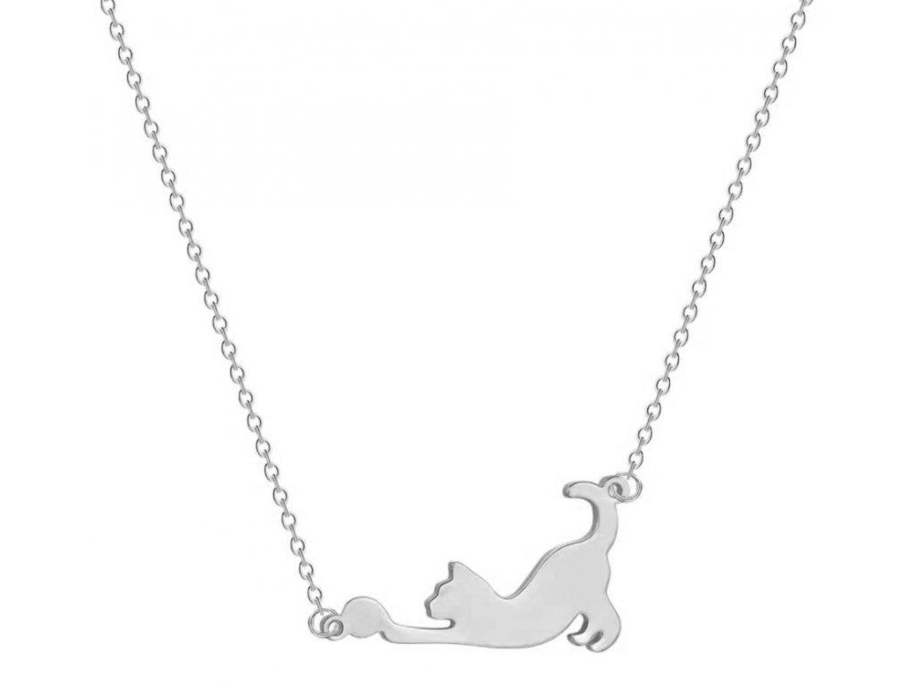 náhrdelník řetízek kočka kotě s míčkem kočičí 2