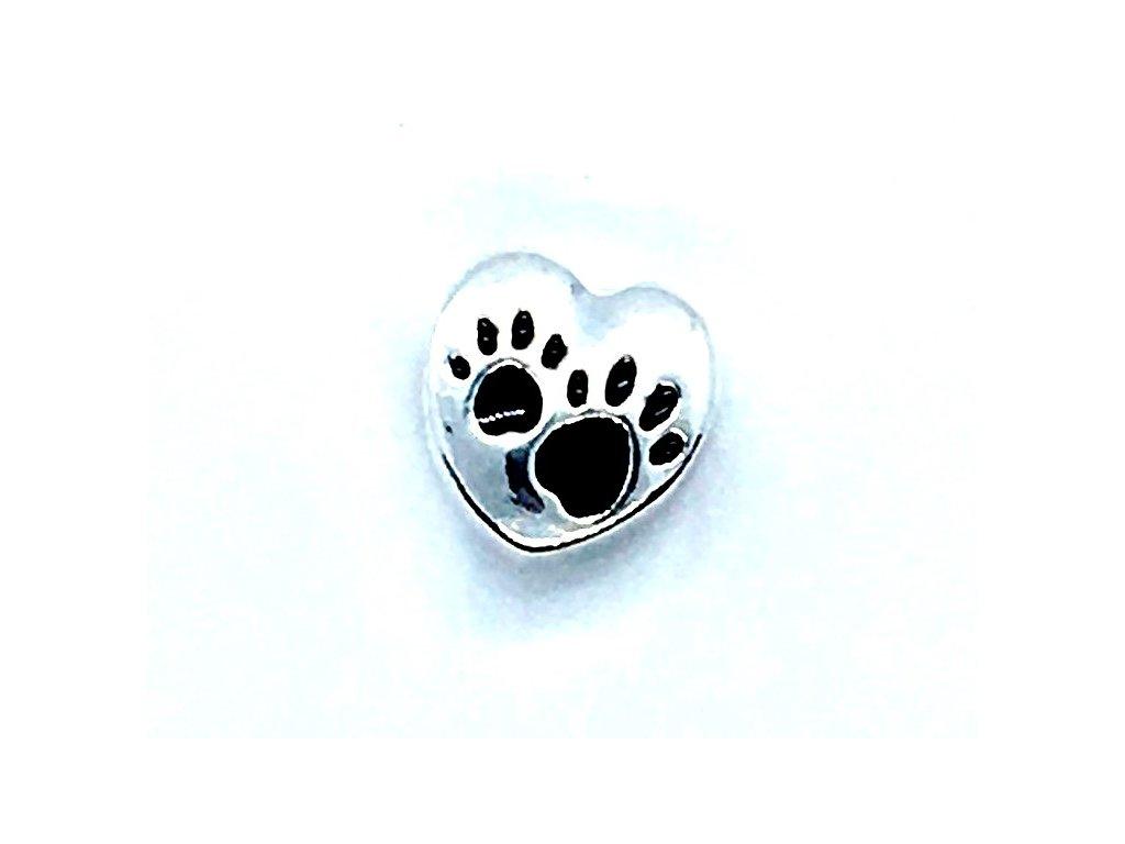 korálky pandora náramek kočka tlapka srdce srdíčko 5