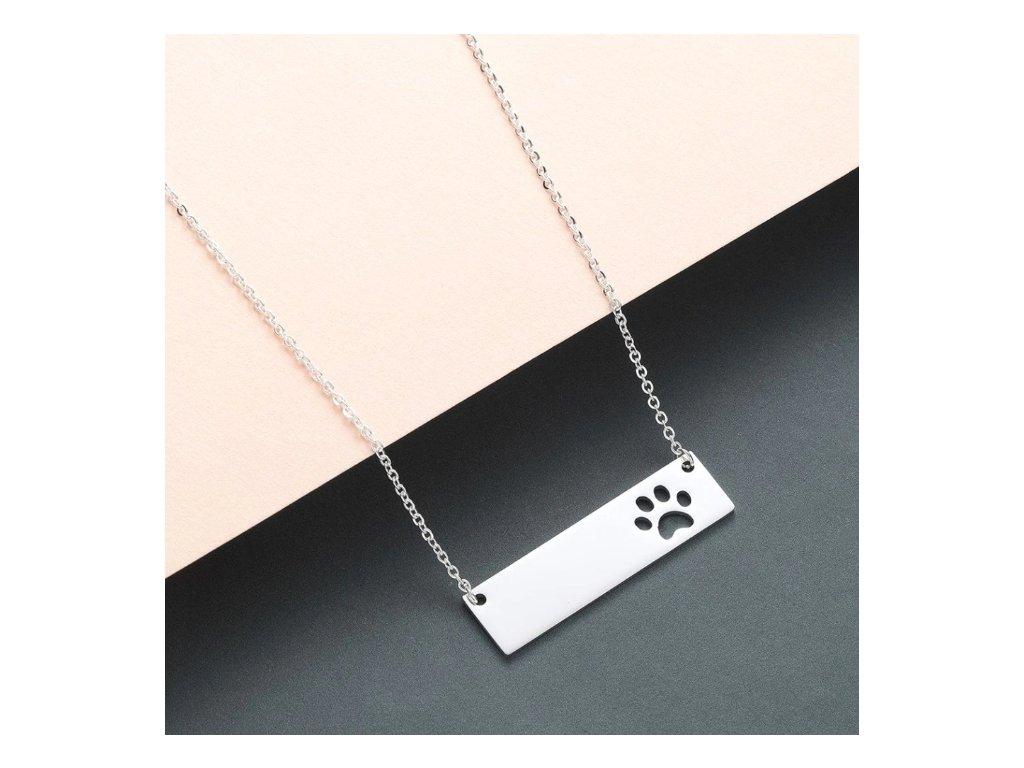 přívěsek náhrdelník řetízek ocel tlapka packa kočka kočičí