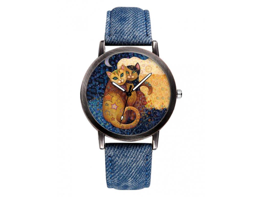 hodinky džínové kočka malovaní s kočkou kočičí