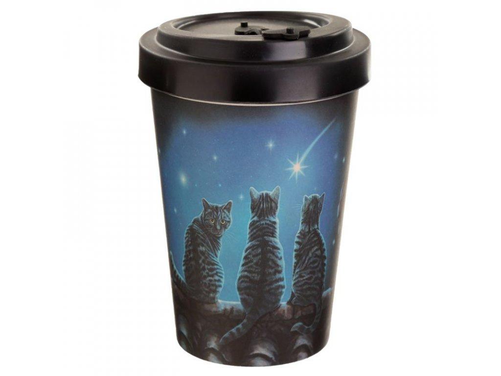 kelímek cestovní bambusová s kočkou s kočkami hvězda hvězdy Lisa Parker