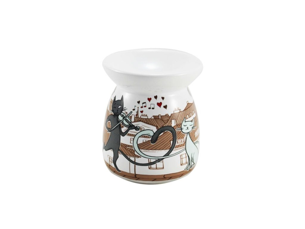 aromalampa kočka s kočkou kočičí keramická