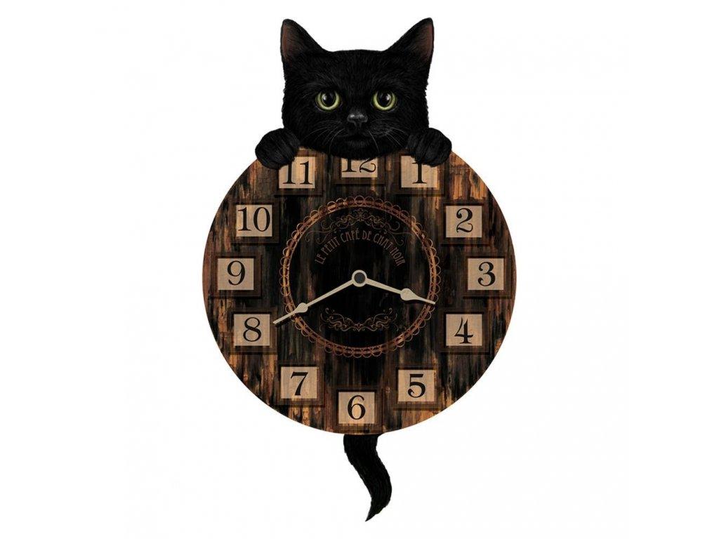 hodiny kočka s kočkou černá kočičí na stěnu kyvadlové