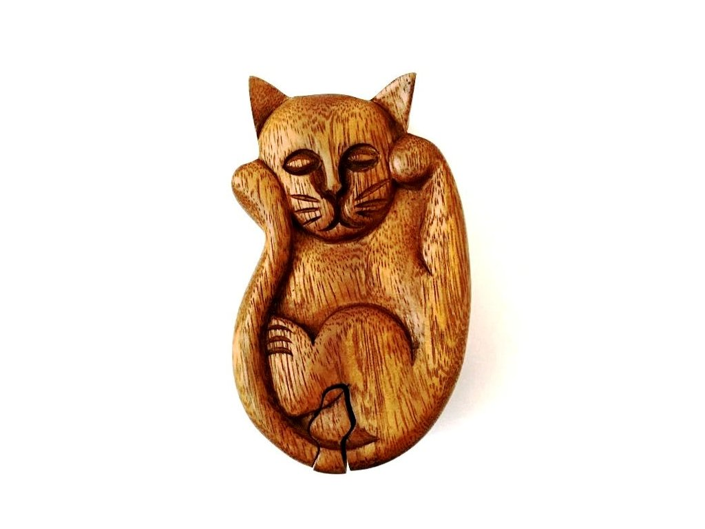 krabička puzzle kočka s kočkou kočičí dřevěná šperkovnice na šperky