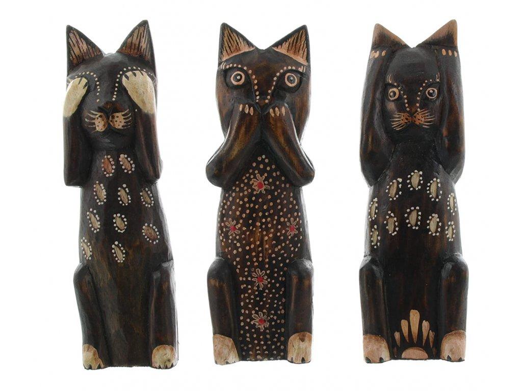 kočka socha soška dřevěná nevidím neříkám neslyším 2